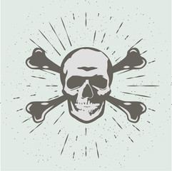 Vintage abstract skull head silhouette. Vector Illustration