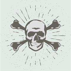 Vintage abstract skull head silhouette. Vector Illustration