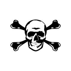 Black abstract skull head silhouette. Vector Illustration