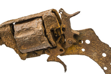 Old rusty pistol close-up, Isolated on white background