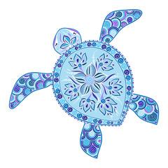 Decorative graphic turtle, tattoo style