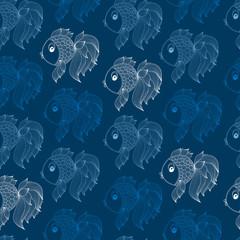 Raster seamless pattern with sea fish world.