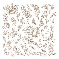 Henna tattoo doodle raster elements on white background.
