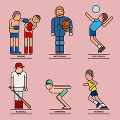 Sport icon and elements with flat design.