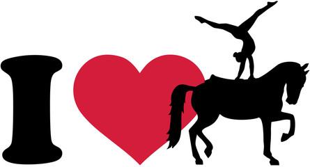 I love Horse Vaulting silhouette Voltigieren