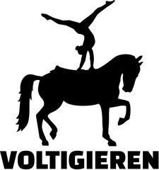 Horse Vaulting silhouette with german word Voltigieren