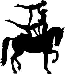 Horse Vaulting of three women Voltigieren