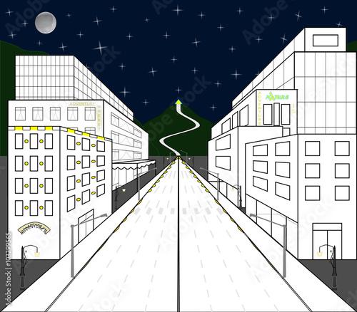 Vista di citt con case e negozi realizzate in for Disegni di case in prospettiva