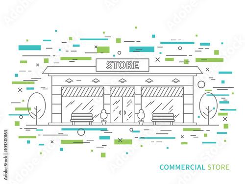 Linear Flat Exterior Landscape Design Illustration Of Modern Store Simple Windows Exterior Design Concept Design