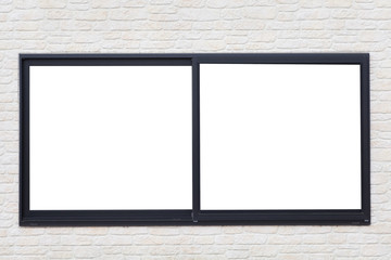 Black metal window frame on white brick wall background
