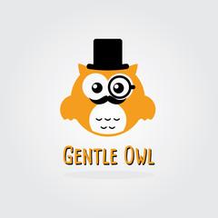 Gentleman Owl Vector Logo Template.  Retro Style.