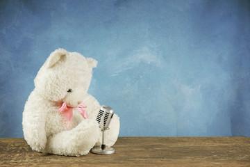 teddy bear with retro microphone