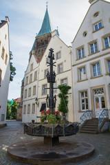 Gebäude am historischen Marktplatz von Warendorf, Nordrhein-Westfalen