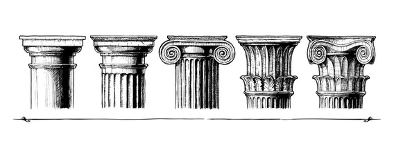 Types of capital. Classical order. Fototapete