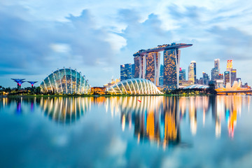 Aluminium Prints Asian Famous Place Singapore Skyline And View Of Marina Bay At Night