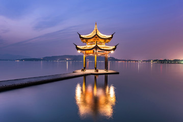 beautiful hangzhou in twilight time and ancient pavilion Wall mural