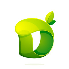 D letter with green leaves eco logo, volume icon.