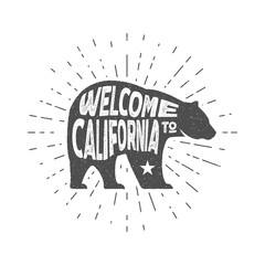 Vintage California Republic bear with sunbursts. Welcome to California sign. Grunge effect. Isolated. Hand drawn lettering design. Typography text label