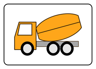 Concrete Mixer Truck icon. Cement deliver symbol. Yellou sign, isolated on white background in black frame. Trendy flat style. Element for design. Construction Equipment. Stock vector illustration.