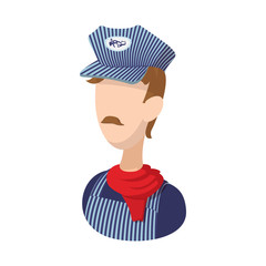 Train conductor cartoon icon