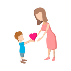 Boy giving a heart to her mother cartoon icon