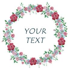 Hand drawn watercolor floral wreath for design, invitation, greeting card, wedding invitation.