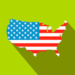 USA map flag flat icon