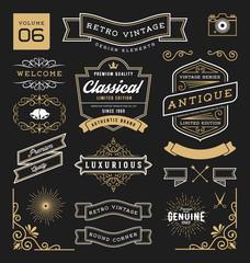Set of retro vintage graphic design elements. Sign, frame labels, ribbons, logos symbols, crowns, corner, flourishes line and ornaments. Vector illustration
