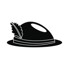 Hat with a feather icon