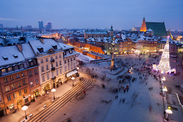 City of Warsaw by Night in Poland