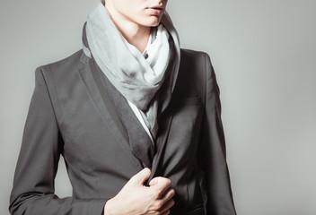 Male model wearing jacket.