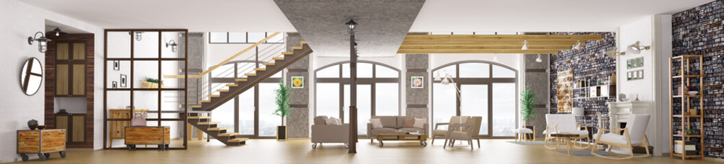 Panorama of loft apartment interior, living room 3d rendering