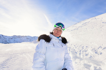 Woman skier in the mountains