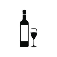 Bottle wine and glass icon