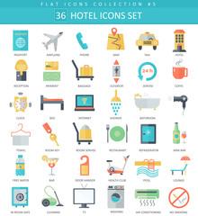 Vector hotel color flat icon set. Elegant style design.