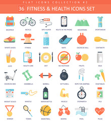 Vector fitness and health color flat icon set. Elegant style design.