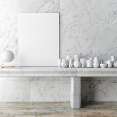 Mock up poster frame  on white marble wall, hipster interior background, 3D render