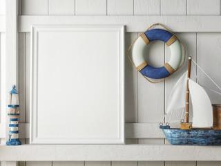 Mock up poster frame with on wooden background, hipster interior background, 3D render