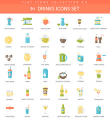 Vector drinks color flat icon set. Coffee, alcogol and tee. Elegant style design.