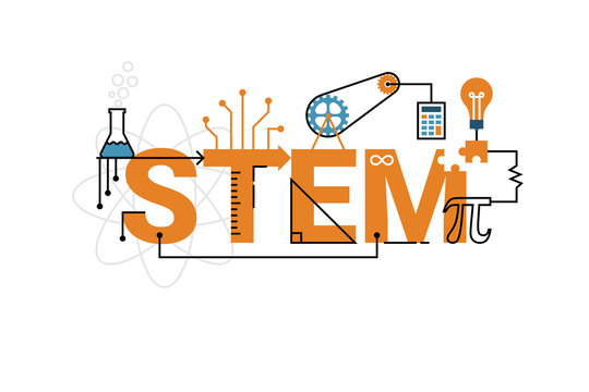 STEM word typography design