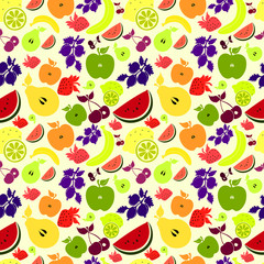 Drawings of colourful fruits and berries/ beige  background.
