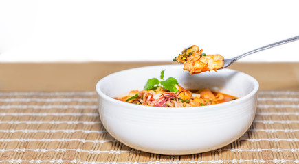 Fried seafood with holy basil leaf and chilli