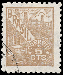 Stamp printed in the Brazil shows oil refinery