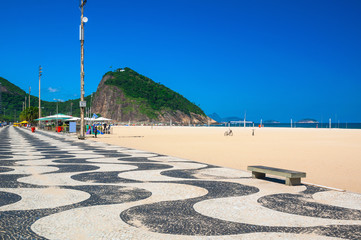Copacabana and Leme with mosaic of sidewalk in Rio de Janeiro. Brazil