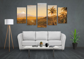 Art canvas in five parts. Landscape theme. Sofa, lamp, plant and table in room interior.
