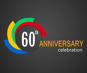60th Anniversary celebration background, 60 years anniversary card illustration - vector eps10