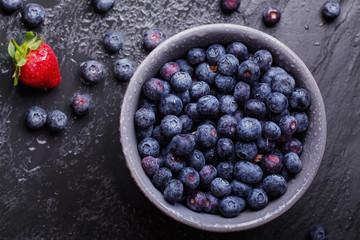 Blueberries, dark rustic style