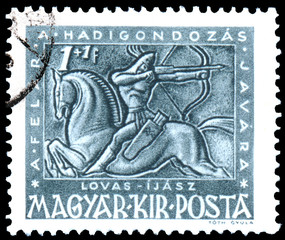 Stamp printed by Hungary, shows gallant on horseback