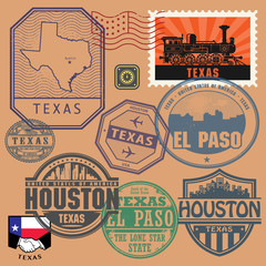 Stamp set with the name and map of Texas, United States