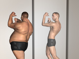 Conceptual 3D fat overweight vs slim fit on diet in mirror